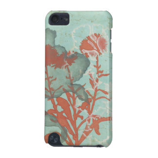 Silhouette of Red Flowers on Teal Background iPod Touch 5G Case