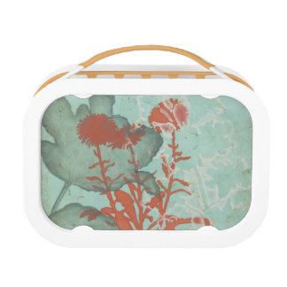 Silhouette of Red Flowers on Teal Background Lunch Box