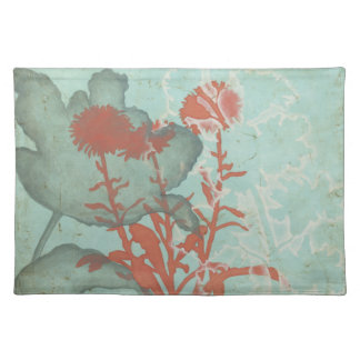 Silhouette of Red Flowers on Teal Background Placemat