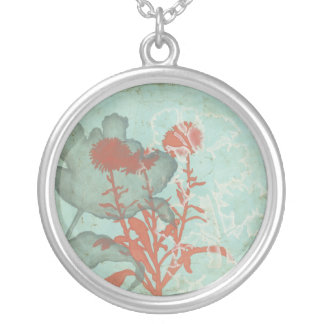 Silhouette of Red Flowers on Teal Background Silver Plated Necklace