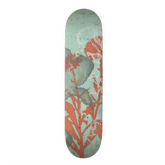 Silhouette of Red Flowers on Teal Background Skateboard Deck