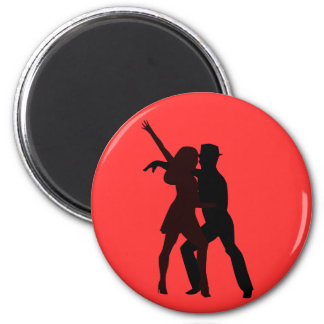 Silhouette of Salsa Dancers 6 Cm Round Magnet