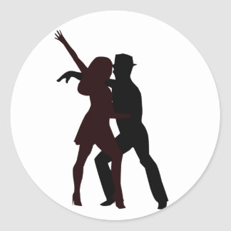 Silhouette of Salsa Dancers Round Stickers