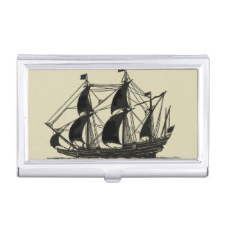 Silhouette of Ship with Billowing Sails Business Card Holder