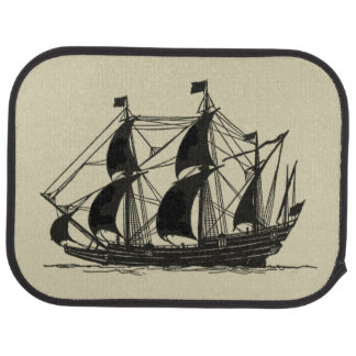 Silhouette of Ship with Billowing Sails Car Mat