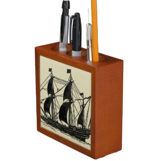 Silhouette of Ship with Billowing Sails Desk Organiser