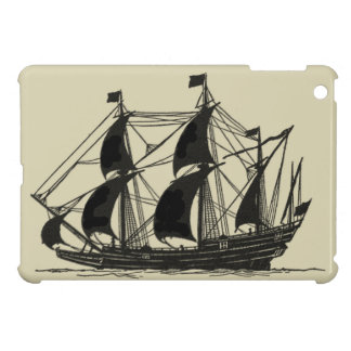 Silhouette of Ship with Billowing Sails iPad Mini Cover