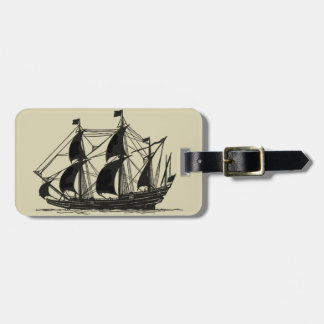 Silhouette of Ship with Billowing Sails Luggage Tag