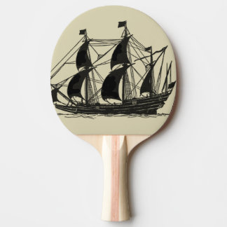 Silhouette of Ship with Billowing Sails Ping Pong Paddle