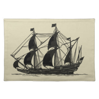 Silhouette of Ship with Billowing Sails Placemat