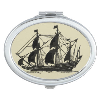 Silhouette of Ship with Billowing Sails Travel Mirror