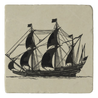 Silhouette of Ship with Billowing Sails Trivet