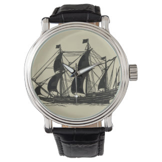 Silhouette of Ship with Billowing Sails Watch