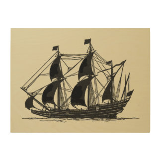 Silhouette of Ship with Billowing Sails Wood Print