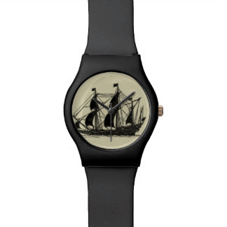 Silhouette of Ship with Billowing Sails Wristwatches