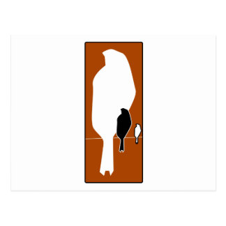 silhouette of sitting birds postcard