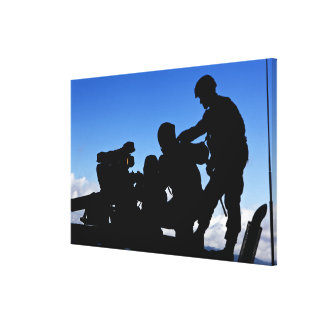Silhouette of soldiers canvas print