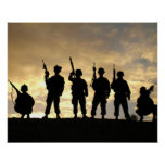 Silhouette of Soldiers in 101st Airborne Division Poster