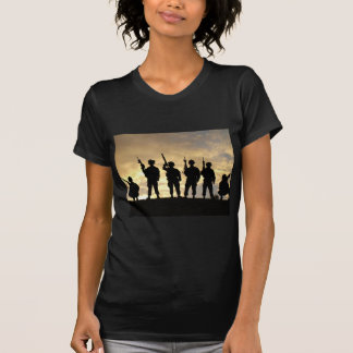 Silhouette of Soldiers in 101st Airborne Division T Shirts