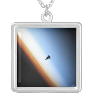 Silhouette of space shuttle Endeavour Silver Plated Necklace