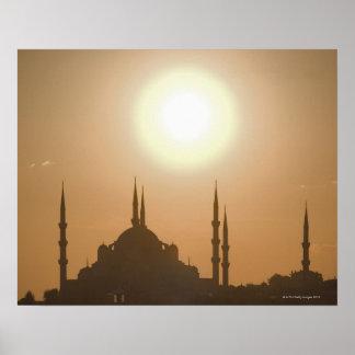 Silhouette of Suleymaniye Turkey, Istanbul Poster