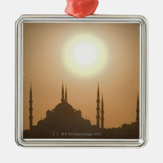 Silhouette of Suleymaniye Turkey, Istanbul Silver-Colored Square Decoration