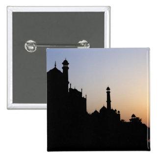 Silhouette of The Taj Mahal at sunset, Agra, 15 Cm Square Badge