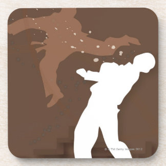 Silhouette of two men practicing karate coasters