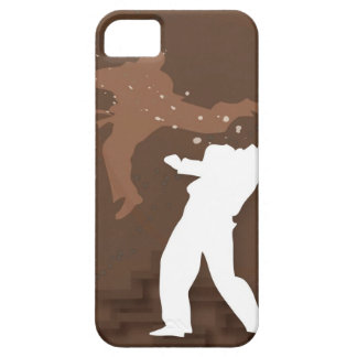 Silhouette of two men practicing karate iPhone 5 covers