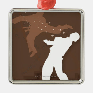 Silhouette of two men practicing karate Silver-Colored square decoration