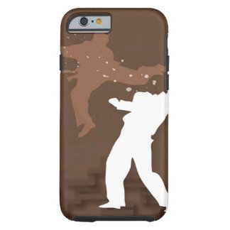 Silhouette of two men practicing karate tough iPhone 6 case