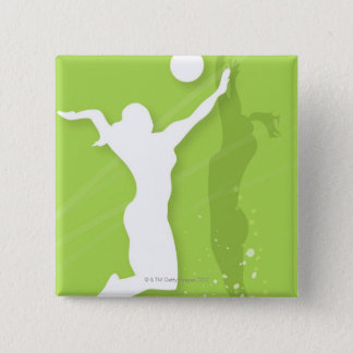 Silhouette of two women playing volleyball 15 cm square badge