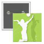 Silhouette of two women playing volleyball pinback buttons