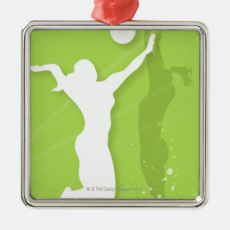 Silhouette of two women playing volleyball christmas ornament