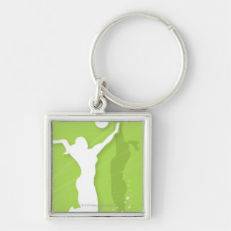Silhouette of two women playing volleyball Silver-Colored square key ring