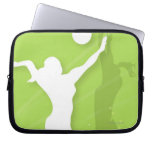 Silhouette of two women playing volleyball laptop computer sleeve