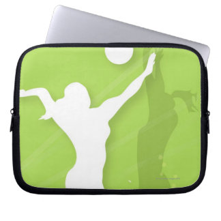 Silhouette of two women playing volleyball laptop sleeve