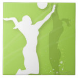 Silhouette of two women playing volleyball large square tile