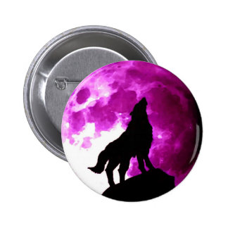 Silhouette of Wolf Howling at Moon 6 Cm Round Badge