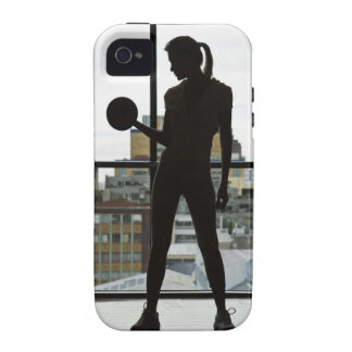 Silhouette of woman lifting weights at gym iPhone 4/4S case