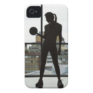 Silhouette of woman lifting weights at gym iPhone 4 Case-Mate case