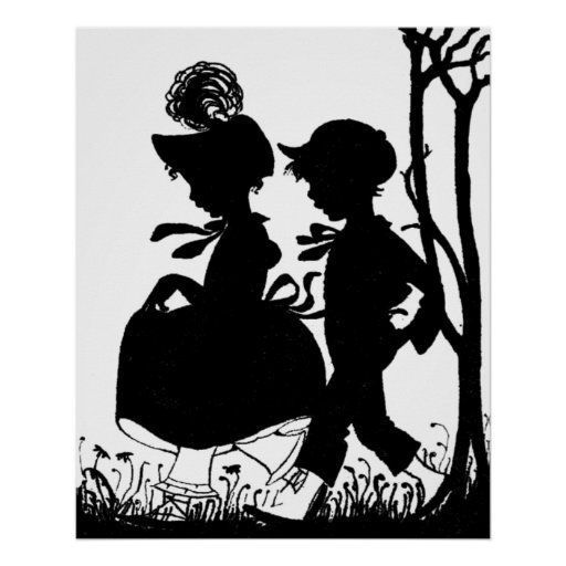 Silhouette of Young Boy and Girl Posters