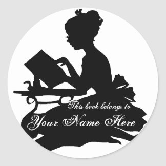 Silhouette of Young Girl  Reading Bookplate Classic Round Sticker