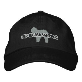 Silhouette Old English Sheepdog Embroidered Baseball Caps