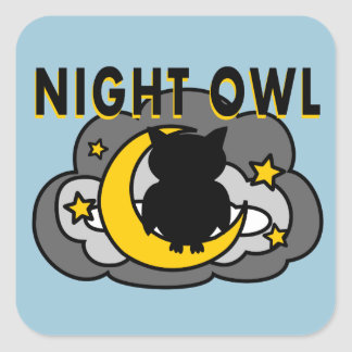 Silhouette Owl Sitting on Moon and Clouds Stickers