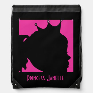 Silhouette Princess Custom Drawstring Backpack Bag