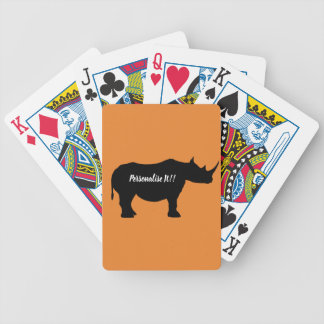 Silhouette Rhinoceros Bicycle Playing Cards