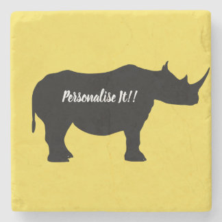 Silhouette Rhinoceros Stone Coaster