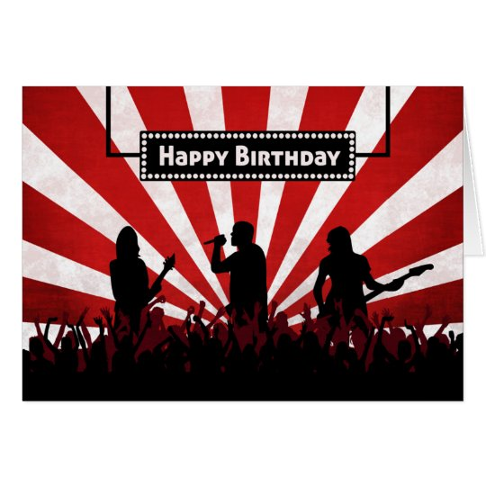 Silhouette Rock Concert w/ Sunburst Birthday Card