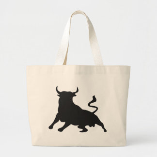 Silhouette Running with the Bulls Spain Large Tote Bag